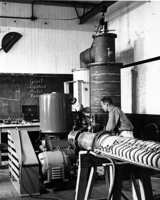 Apparatus to measure the decay of the free neutron. The experiment was designed by Luis Alvarez and was built and tested by Cornelius Tobias for his doctoral thesis in 1941. The project was stopped when the 37-inch cyclotron was converted to isotope separation. Photo taken May 2, 1941. Morgue 1946-8 (P-16); Cooksey 454 [Photographer: Donald Cooksey]
