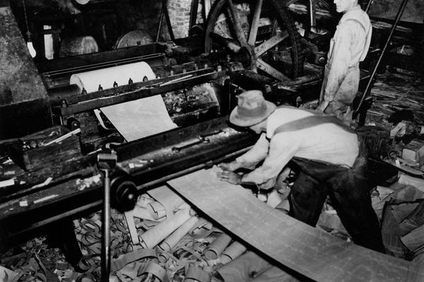 Photograph of Veneer Cutting Machine in Operation