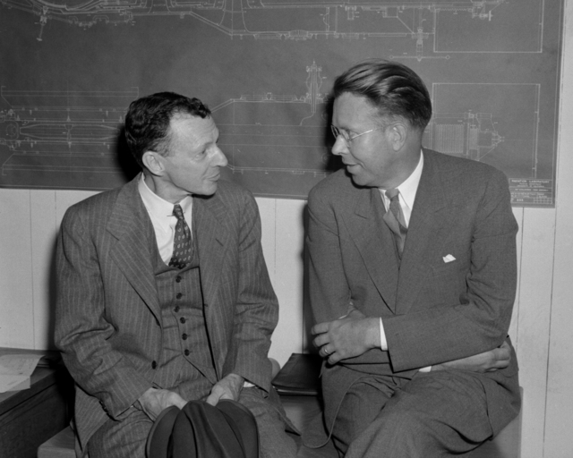 Dr. W. D. Coolidge (left), director of the Research Laboratory of the General Electric Company with Ernest Orlando Lawrence, taken July 23, 1941. Principal Investigator/Project: Analog Conversion Project [Photographer: Donald Cooksey]