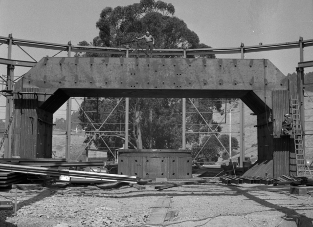 184-inch cyclotron exterior building framework, with magnet, taken October 8, 1941. Principal Investigator/Project: Analog Conversion Project [Photographer: Donald Cooksey]
