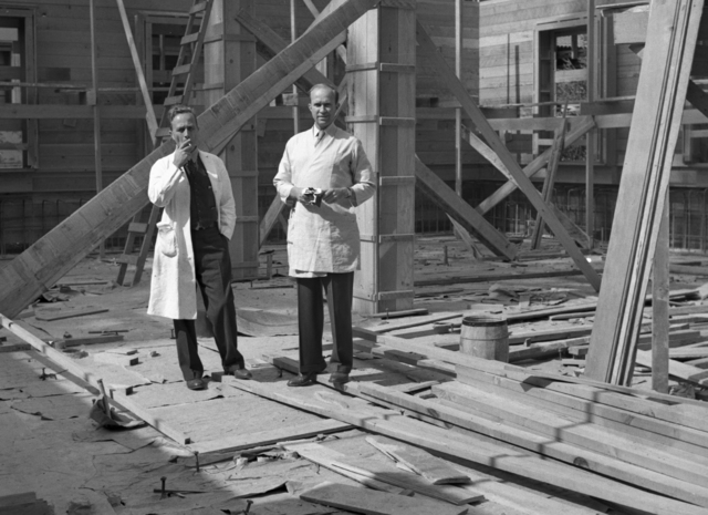 Joseph Hamilton (left) and John Lawrence at Medical Physics Building (Donner Lab) construction site, taken October 11, 1941. Principal Investigator/Project: Analog Conversion Project [Photographer: Donald Cooksey]