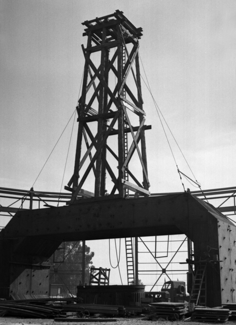 184-inch cyclotron construction site showing tower for central roof ring, taken October 15, 1941. Principal Investigator/Project: Analog Conversion Project [Photographer: Donald Cooksey]