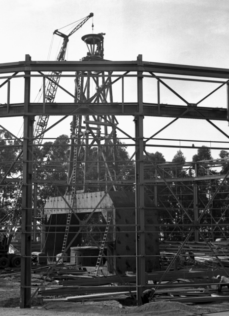 184-inch cyclotron construction with roof ring in place, taken October 15, 1941. Principal Investigator/Project: Analog Conversion Project [Photographer: Donald Cooksey]