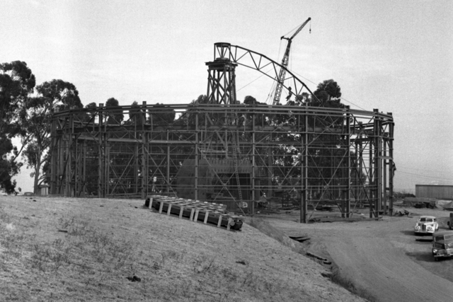 184-inch cyclotron construction with first roof truss in place, taken October 16, 1941. Principal Investigator/Project: Analog Conversion Project [Photographer: Donald Cooksey]