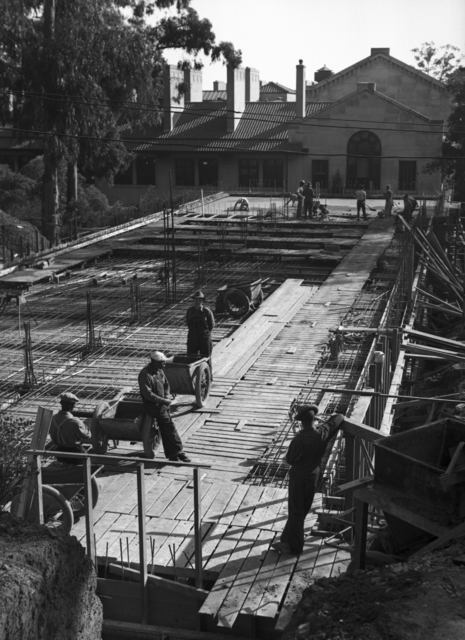 Construction workers at Medical Physics Building (Donner Lab) construction site, taken November 14, 1941. Principal Investigator/Project: Analog Conversion Project [Photographer: Donald Cooksey]