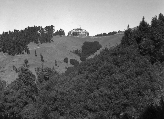 184-inch cyclotron roof installation taken from South Canyon, taken November 20, 1941. Principal Investigator/Project: Analog Conversion Project [Photographer: Donald Cooksey]