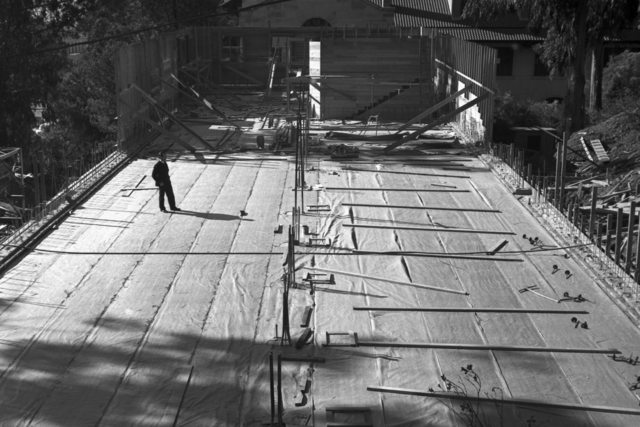 Paul Aebersold at Medical Physics Building (Donner Lab) construction site, taken November 20, 1941. Principal Investigator/Project: Analog Conversion Project [Photographer: Donald Cooksey]