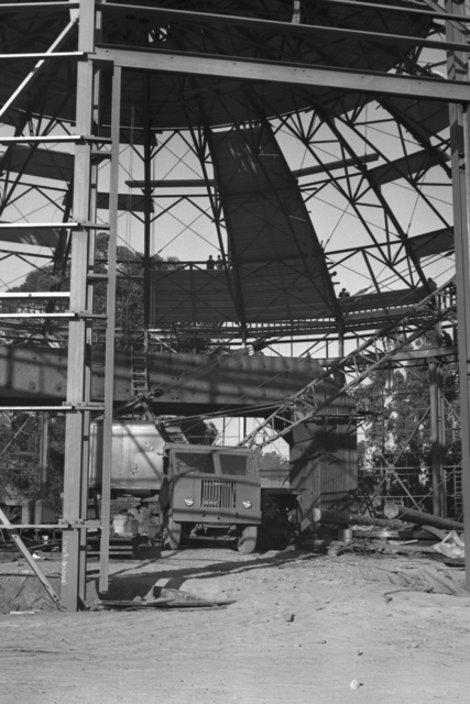 Roof installation at 184-inch cyclotron, taken November 24, 1941. Principal Investigator/Project: Analog Conversion Project [Photographer: Donald Cooksey]