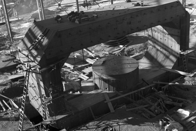 184-inch cyclotron magnet. View from crane girder, taken December 3, 1941. Principal Investigator/Project: Analog Conversion Project [Photographer: Donald Cooksey]