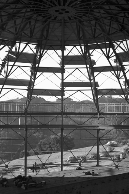 184-inch cyclotron roof installation. View from crane girder, taken December 3, 1941. Principal Investigator/Project: Analog Conversion Project [Photographer: Donald Cooksey]