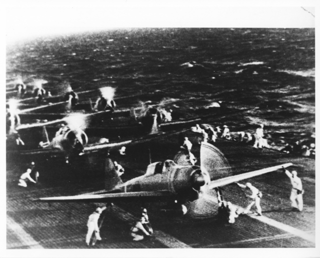 Captured Japanese Photograph of Japanese Mitsubishi Divebombers Warming Up on Carrier Deck Before the Attack on Pearl Harbor
