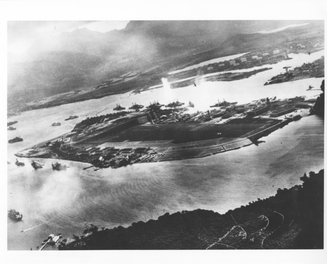 Captured Japanese Photograph Taken during the Attack on Pearl Harbor