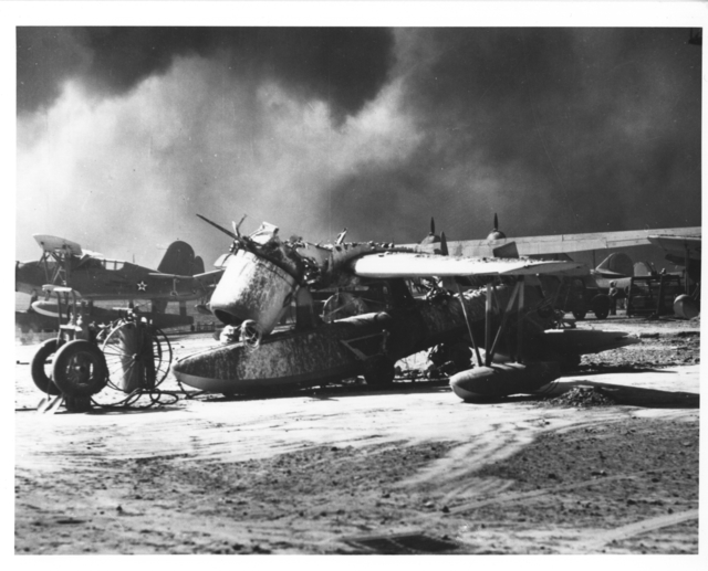 Photograph of a Navy Scout Observation Plane Wrecked by Japanese Attack on Pearl Harbor