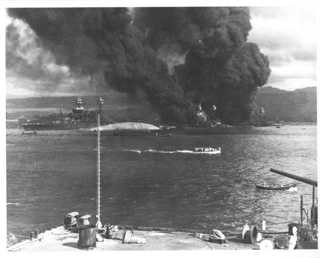 Photograph of Burning and Damaged Ships at Pearl Harbor