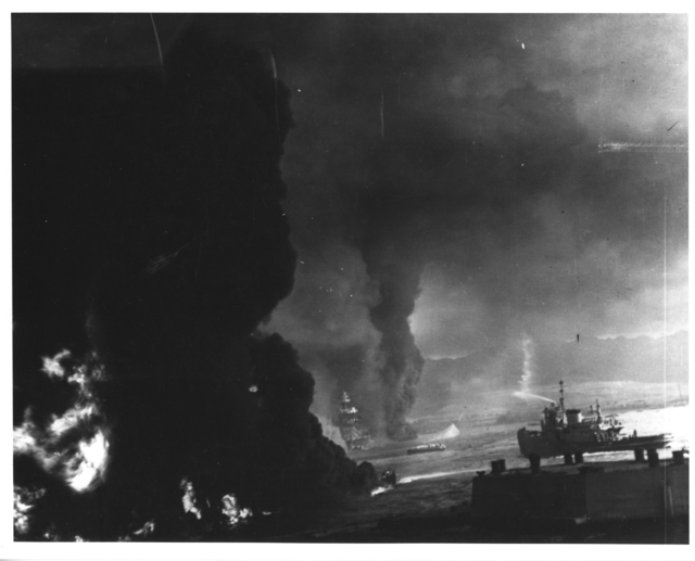 Photograph of Burning Oil from Shattered Fuel Tanks during Japanese Attack on Pearl Harbor