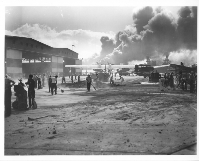 Photograph of Damage at NAS Pearl Harbor after Japanese Attack