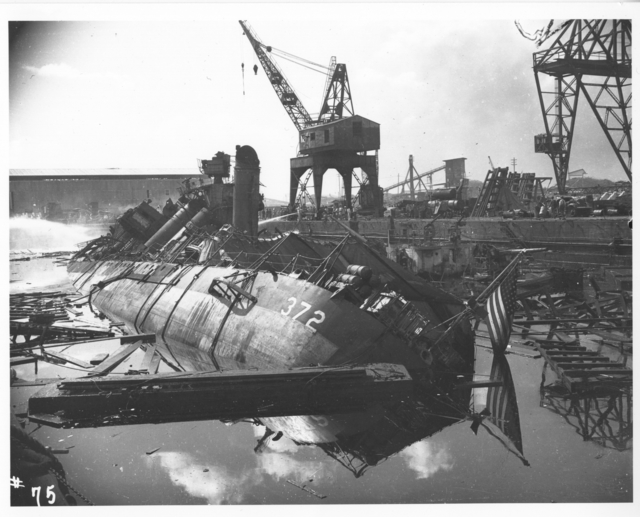 Photograph of Damaged Ships after the Japanese Attack on Pearl Harbor