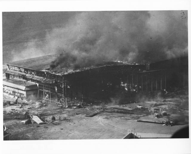 Photograph of Hangar Burning after Japanese Air Raid on Pearl Harbor