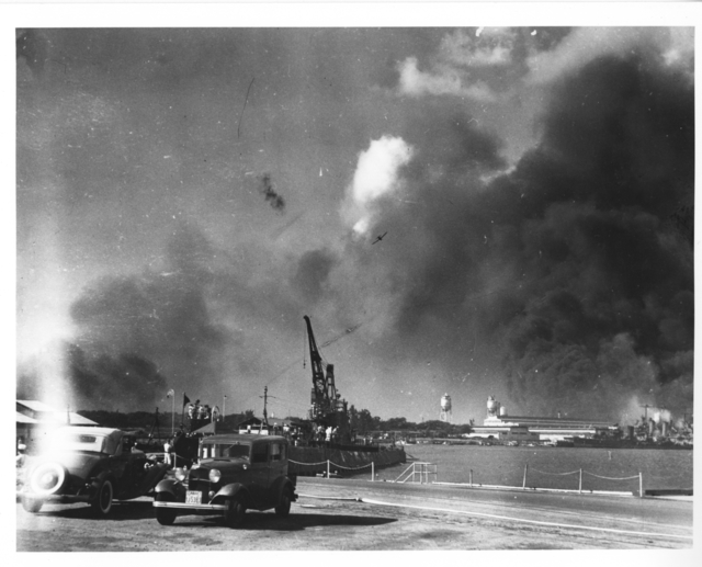 Photograph of Japanese Planes in Action Over Pearl Harbor