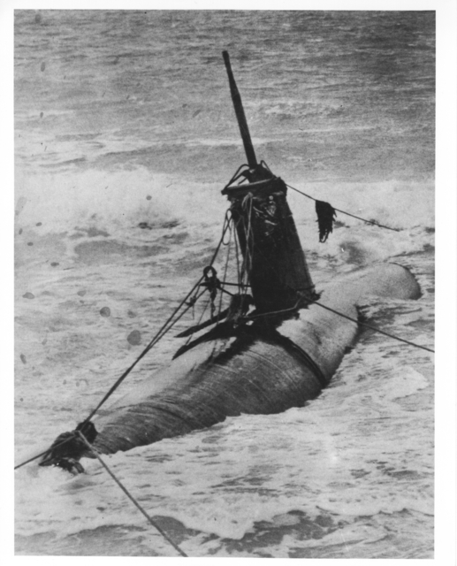 Photograph of Japanese Two-Man Submarine Beached on Island of Oahu during Action with U.S. Forces
