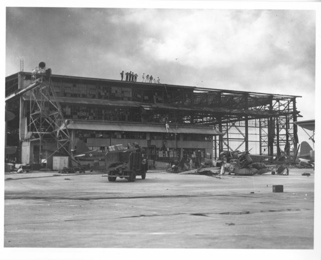 Photograph of Planes and Hangars Wrecked in the Japanese Attack on Pearl Harbor