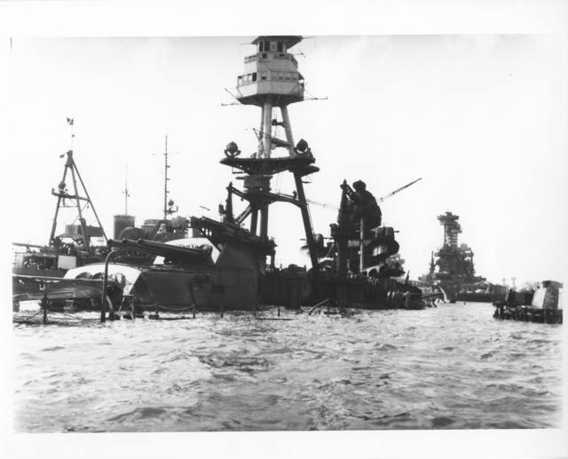 Photograph of the USS Arizona after the Japanese Attack on Pearl Harbor