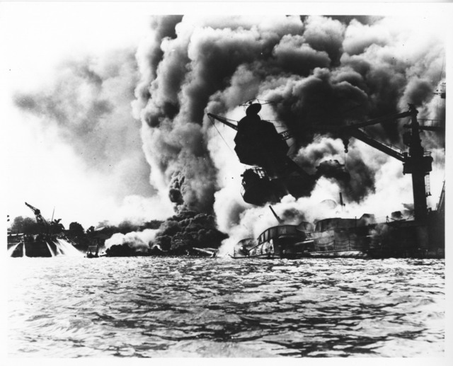 Photograph of the USS Arizona Burning after the Japanese Attack on Pearl Harbor