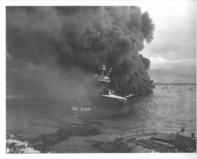 Photograph of the USS California after the Japanese Attack on Pearl Harbor