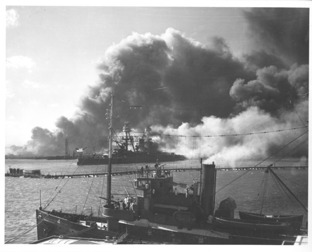 Photograph of the USS Nevada after the Japanese Attack on Pearl Harbor