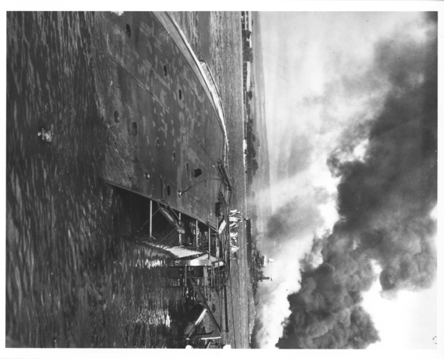 Photograph of the USS Oglala Capsized and Sinking after the Japanese Attack on Pearl Harbor