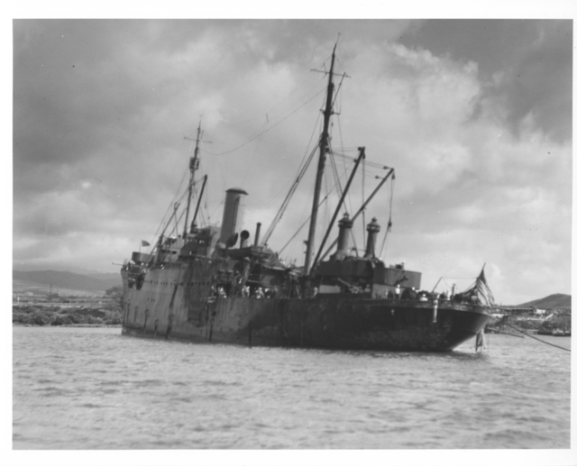Photograph of the USS Vestal after the Japanese Attack on Pearl Harbor