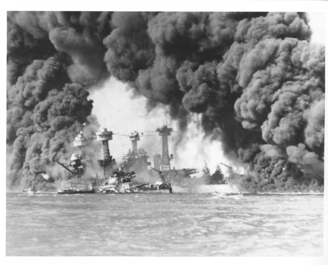 Photograph of the USS West Virginia and the USS Tennessee after the Japanese Attack on Pearl Harbor