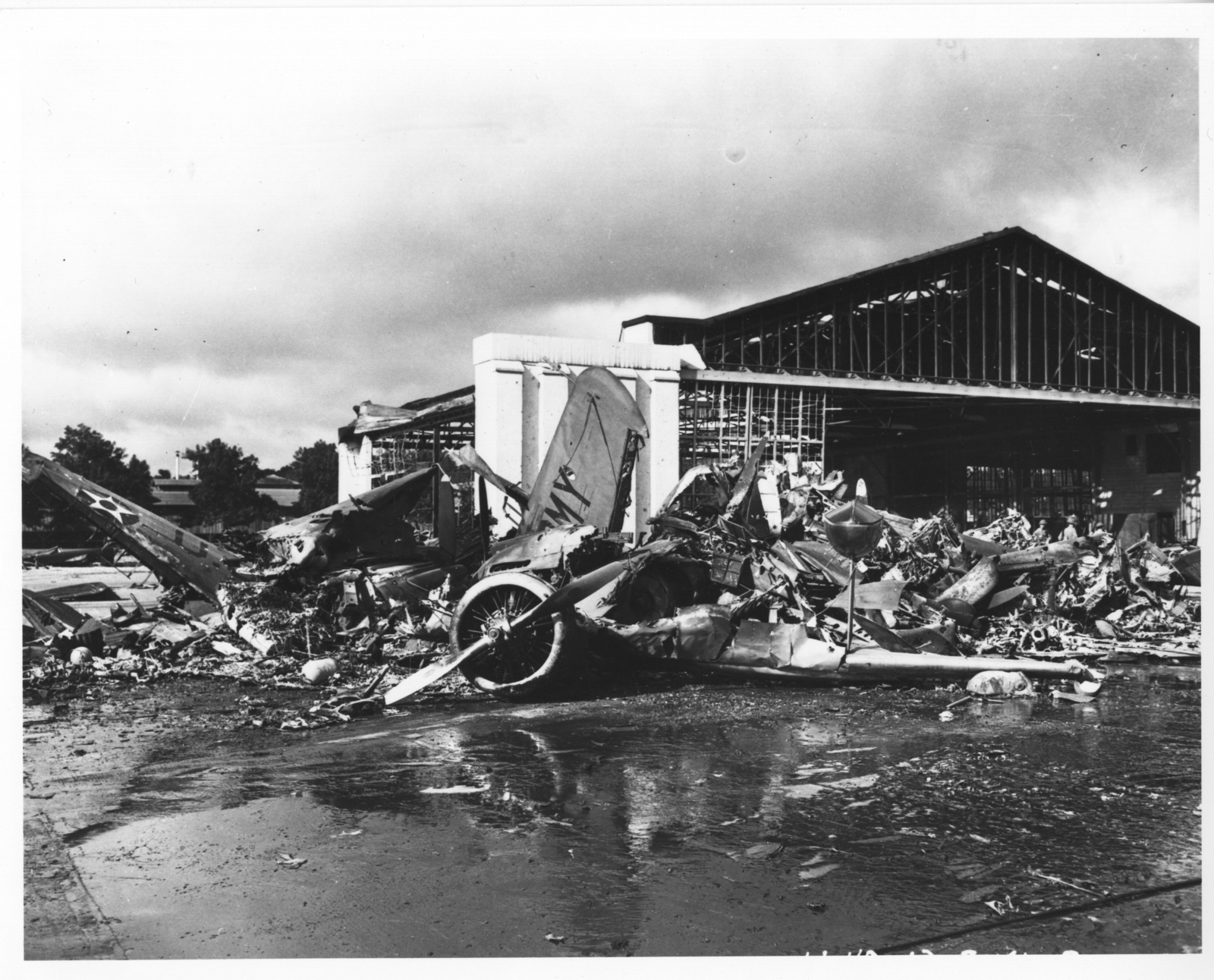 Photograph of U.S. Aircraft Destroyed as a Result of the Japanese Bombing on Pearl Harbor