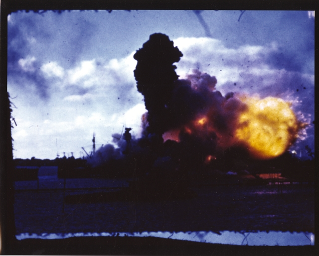 Photograph of USS Arizona Exploding Fiercely at Pearl Harbor after Japanese Attack