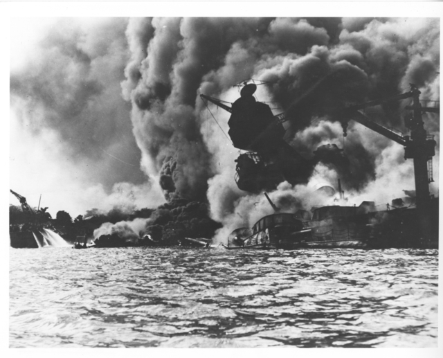 Photograph of USS Arizona on Fire after Attack on Pearl Harbor