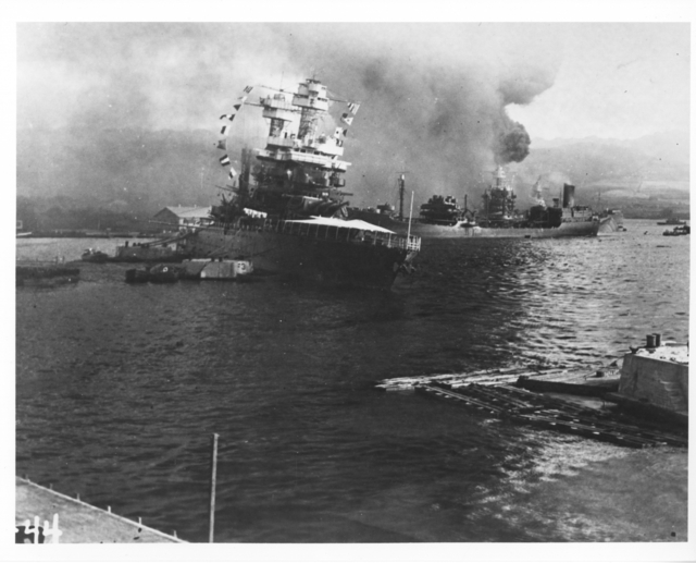 Photograph of USS California after the Pearl Harbor Attack