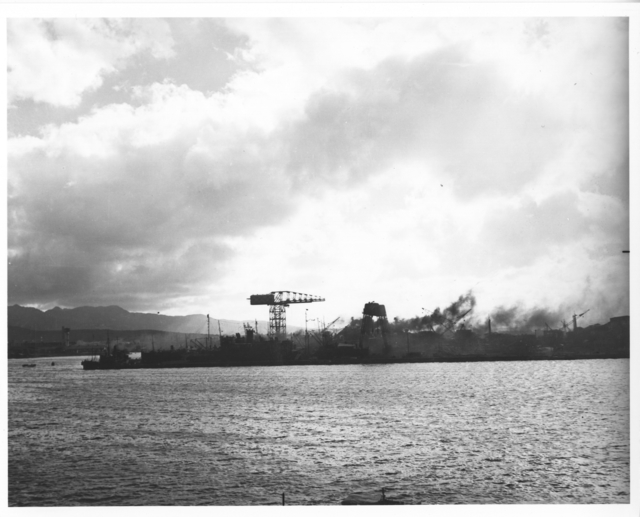 Photograph of View of 10-10 Dock From NAS Pearl Harbor after Japanese Raid