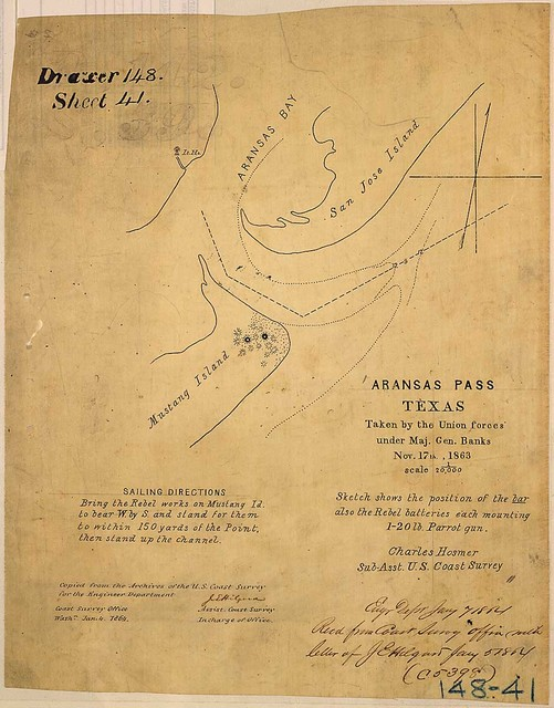 Aransas Pass, Texas, Taken by the Union forces under Maj. Gen. Banks, Nov. 17th., 1863 . . . shows the position of the bar, also the Rebel batteries, each mounting 1-20 lb. Parrot gun. [By] Charles Hosmer, Sub-Asst., U.S. Coast Survey.