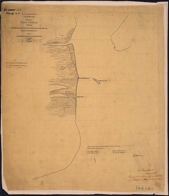Map of Pass Cavallo, Texas, Showing the position of the Rebel fortifications and rifle pits. Surveyed December 1st, 1863, by Charles Hosmer, Sub-Assistant, [U.S. Coast Survey].