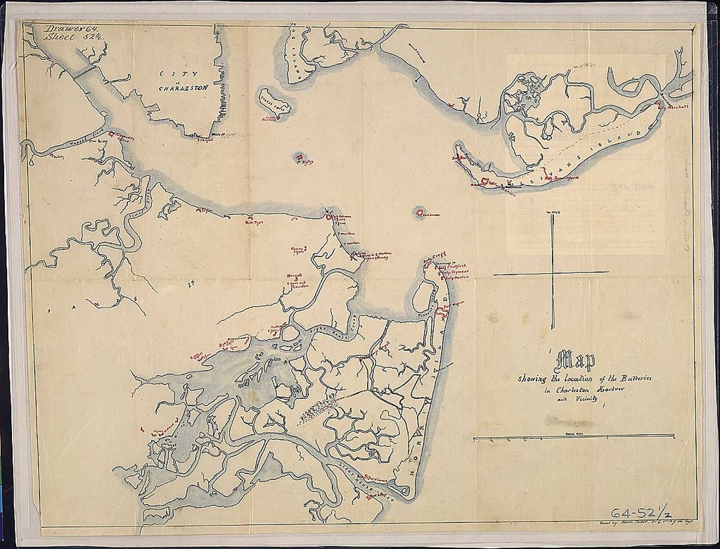 Map showing the location of the Batteries in Charleston Harbour and Vicinity. Traced by Henri Pechot [or Pichot], Co. G., 1st. N.Y. Vol. Engrs