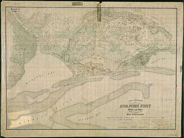 No. 2. Siege Operations at Spanish Fort, Mobile Bay, by the U.S. Forces under Maj. Gen. Canby. Captured by the Army of West Miss. on the Night of April 8 & 9th, 1865. Drawn by order of Maj. McAlester, Chief Engineer, Army & Division West Miss., under direction of Lt. S.E. McGregory, Commanding Topographical Party.