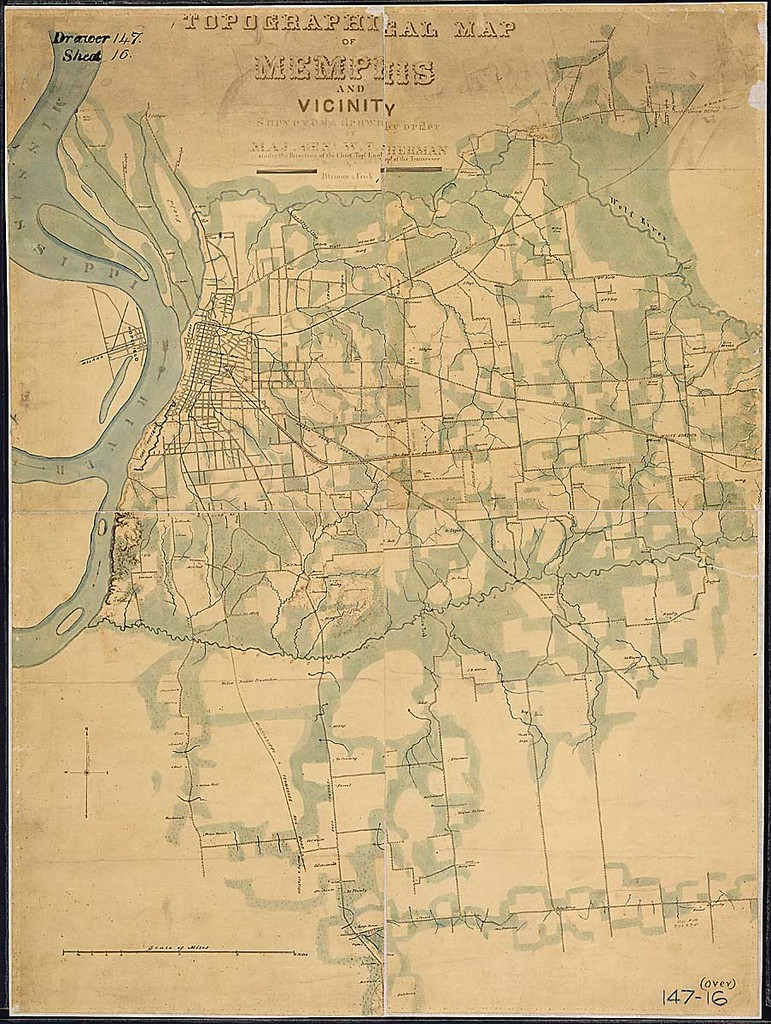 Topographical Map of Memphis and Vicinity. Surveyed & drawn by order of Maj. Genl. W. T. Sherman under the Direction of the Chief Topl. Engr., Dept. of the Tennessee, by Pitzman & Frick, Asst. Topl. Engineers.