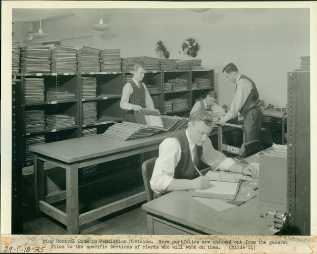 Wing Control Room in Population Division, here Portfolios are Checked out from the General Files to the Specific Sections of Clerks Who Will Work on Them