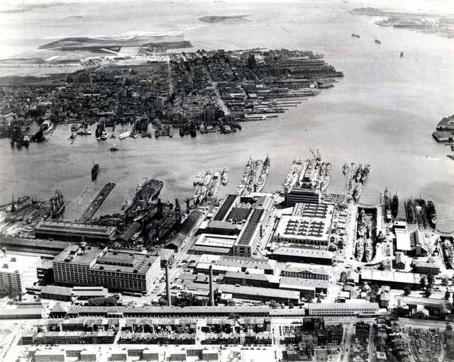 Aerial View of Navy Yard in Boston