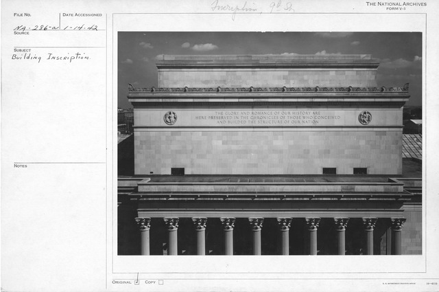 Photograph of National Archives Building Inscription