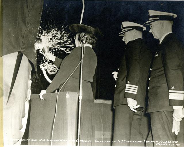 U.S. Senator Hattie W. Caraway, Sponsor, Christening USS Sawfish