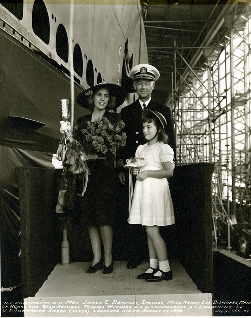 Mrs. James C. Dempsey, Sponsor, Miss Nancy Lee Dismukes, Maid of Honor, and Rear Admiral Thomas Withers