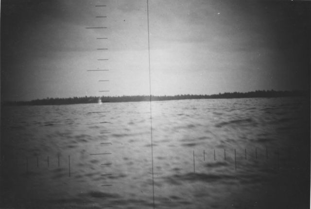 Photograph of the Shore Line on Makin Island seen through Periscope of USS Nautilus