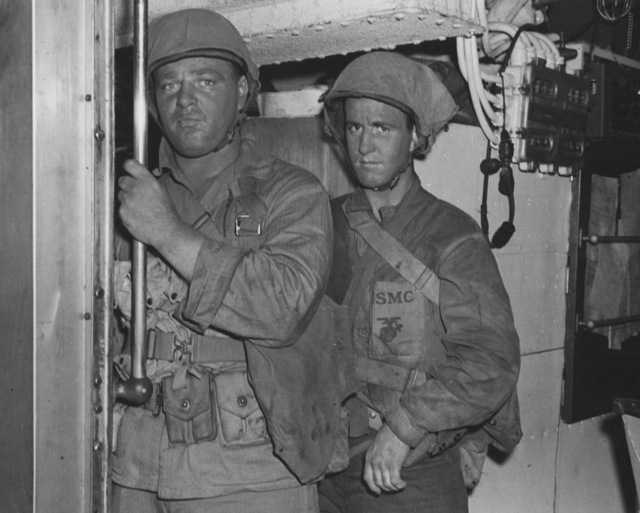 Photograph of Marine Commandos on USS Nautilus Standing by to Go on Top Side for Raid on Makin Island