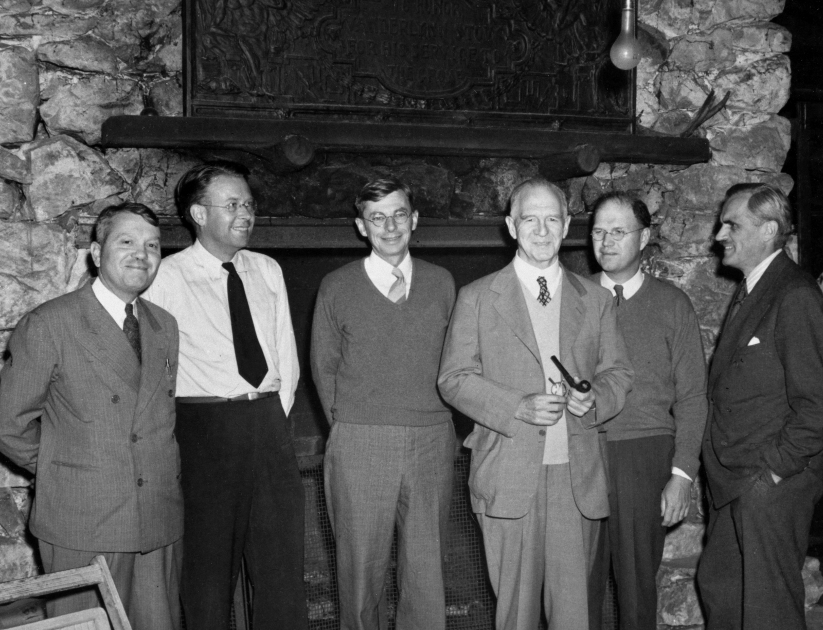 Office of Scientific Research and Development (OSRD) party, S-1 committee at Bohemian Grove, September 13, 1942. Left to right: Harold C. Urey, Ernest O. Lawrence, James B. Conant, Lyman. J. Briggs, E. V. Murphree, and A. H. Compton. Morgue 1958-8 (P-69) [Photographer: Donald Cooksey]